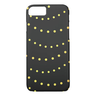 Faux gold light strings dark gray golden dots iPhone 7 case