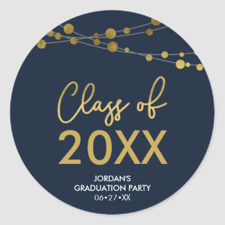 Faux Gold Lights Class of 2018 Graduation Party Classic Round Sticker