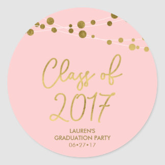 Faux Gold Lights Rose Class of 2017 Graduation Classic Round Sticker