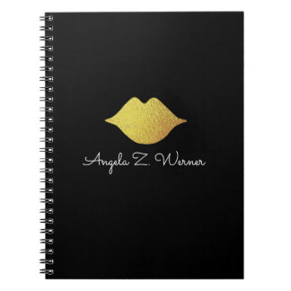faux gold lips + name spiral notebook
