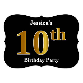 Faux Gold Look 10th Birthday Party + Custom Name Card