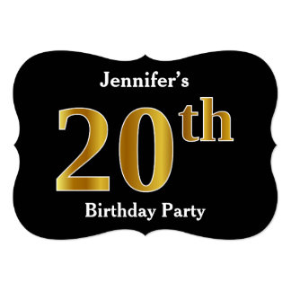 Faux Gold Look 20th Birthday Party + Custom Name Card