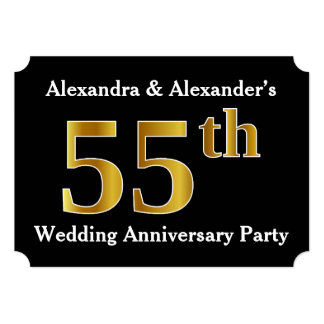 Faux Gold Look 55th Wedding Anniversary Party Card