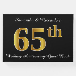 Faux Gold Look 65th Wedding Anniversary + Names Guest Book