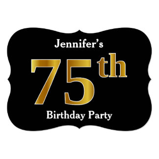 Faux Gold Look 75th Birthday Party + Custom Name Card