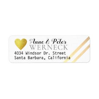 faux gold love heart bride groom names address return address label