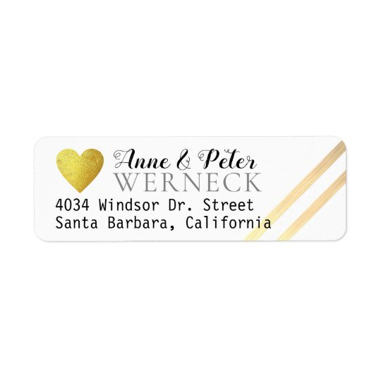 faux gold love heart bride groom names address return address label