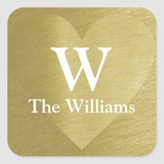 faux gold love heart with couple initial & name square sticker