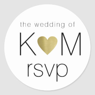 faux gold love heart with couple initials rsvp classic round sticker
