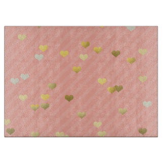 faux gold love hearts pattern, pastel pink stripes cutting board