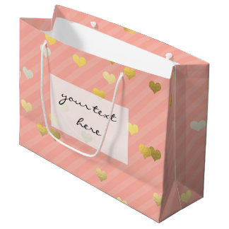 faux gold love hearts pattern, pastel pink stripes large gift bag