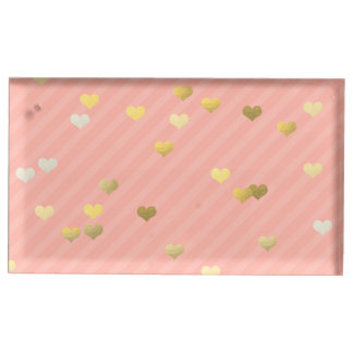 faux gold love hearts pattern, pastel pink stripes table card holder