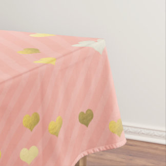 faux gold love hearts pattern, pastel pink stripes tablecloth