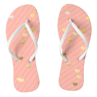 faux gold love hearts pattern, pastel pink stripes thongs