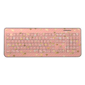 faux gold love hearts pattern, pastel pink stripes wireless keyboard