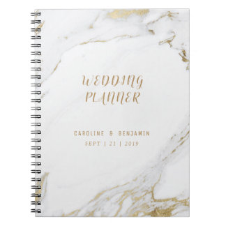 Faux gold marble luxury modern wedding planner notebook