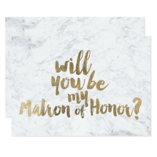 Faux gold marble Will you be my Matron of honor Card