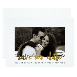 Faux gold Marker Pen Save the Date Card