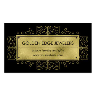Faux Gold Metallic Black Ornamental Pack Of Standard Business Cards