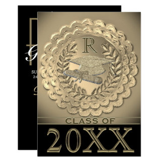 Faux Gold Metallic Graduation Card