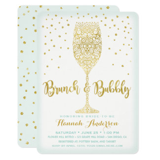 Faux Gold & Mint Brunch & Bubbly Bridal Shower Card
