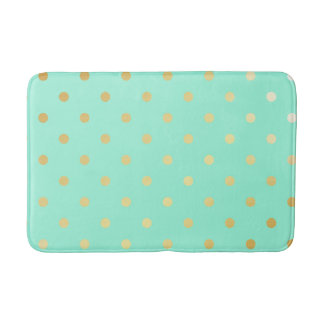 faux gold mint polka dots bath mat