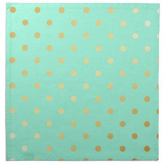 faux gold mint polka dots napkin