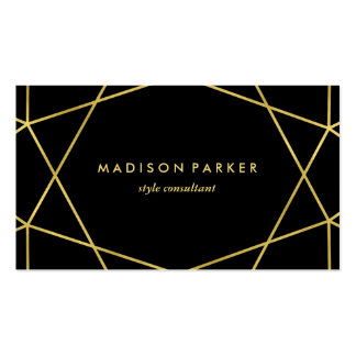Faux Gold Modern Geometric on Black Pack Of Standard Business Cards