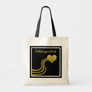 Faux Gold on Black Follow Your Heart Tote Bag
