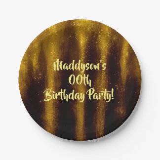 Faux Gold Paint And Glitter On Black Paper Plate