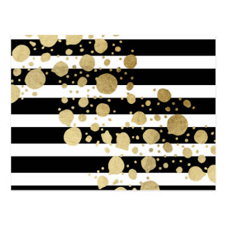 Faux Gold Paint Splatter on Black & White Stripes Postcard