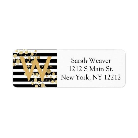 Faux Gold Paint Splatter on Black & White Stripes Return Address Label
