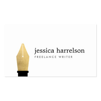 Faux Gold Pen Nib Logo for Writers, Authors Pack Of Standard Business Cards