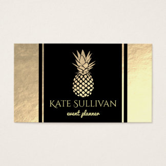 faux gold pineapple on black business card