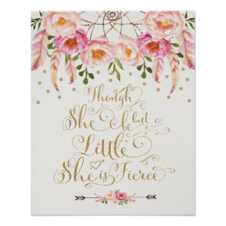 Faux Gold & Pink Nursery Art Boho Calligraphy Poster