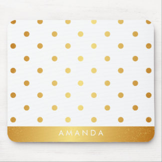Faux GOLD POLKA DOTS PERSONALIZE ADD YOUR NAME Mouse Pad