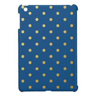 Faux Gold Polka Dots Royal Blue Metallic iPad Mini Covers