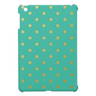 Faux Gold Polka Dots Teal Metallic iPad Mini Cover