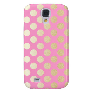 Faux Gold Polka Dots with Pink Galaxy S4 Cover