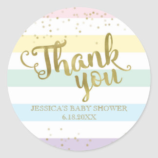 Faux Gold Rainbow Stripes Baby Shower Thank You Round Sticker