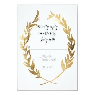 Faux Gold RSVP Laurel Wreath Olive Leaf Branch 9 Cm X 13 Cm Invitation Card