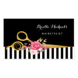 Faux Gold Scissors Stripes Pink Floral Hair Salon Pack Of Standard Business Cards