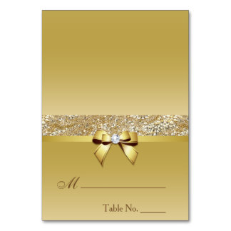 Faux Gold Sequins Diamond Bow Place Card