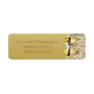 Faux Gold Sequins Gold Bow and Diamond Return Address Label