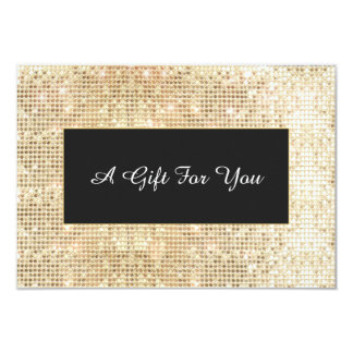 Faux Gold Sequins Spa and Salon Gift Certificate 9 Cm X 13 Cm Invitation Card