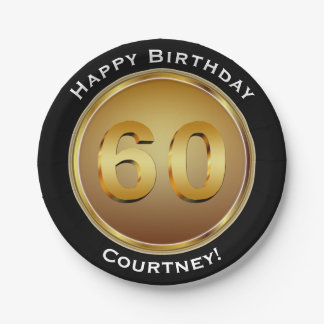 Faux Gold Sixtieth 60th Birthday with Name Paper Plate