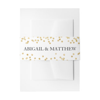 Faux Gold Sparkle Confetti Wedding In | Belly Band Invitation Belly Band