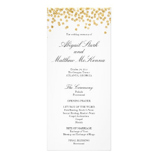Faux Gold Sparkle Confetti Wedding Program Personalised Rack Card