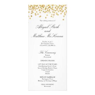 Faux Gold Sparkle Confetti Wedding Program Rack Card