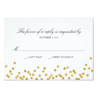 Faux Gold Sparkle Response Card with Menu Choices